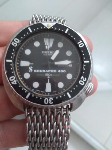 Seiko Scuba Pro 450 Raridade Vintage Pulseira  Shark De Aço