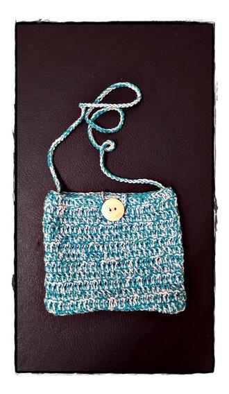 Carterita Artesanal A Crochet Modelo 07 Tamaño 14 X 12 Cm