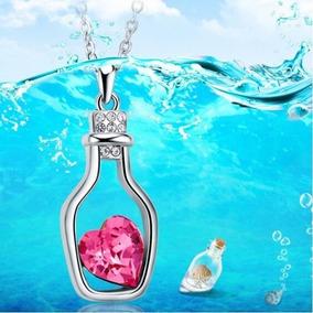 Colar Garrafa Coração Rosa Cristal Pingente Promoção Barato