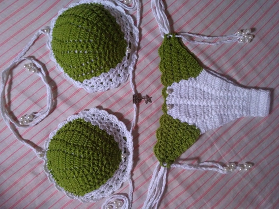 Artesanato Conj.biquíni De Crochê (tam.m) Seria Branco-verde