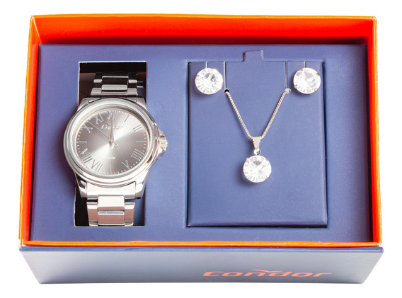 Kit Relógio Condor Co2039be/k3c Com Cordão E Brinco