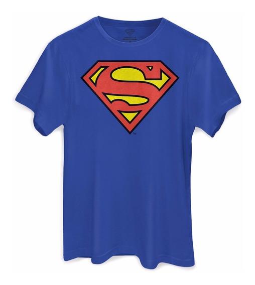 Camiseta Superman Logo Oficial Masculina Azul