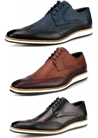 Kit Sapato Oxford Masculino Casual Topsides Derby Couro