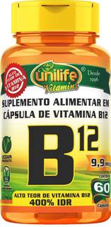 Vitamina B12 Cobalamina 60 Cápsulas 450mg Unilife Vitamins