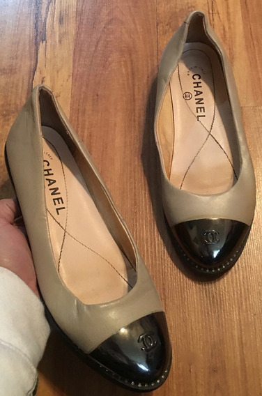 Hermosos Zapatos Flats Chel Vintage Metallic Point Beige 24!