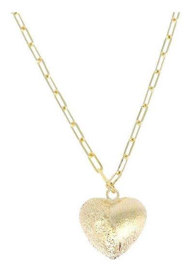 Colar Feminino Coração Corrente Cartier Banhado Ouro 45 Cm