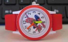Relógio Do Homem Aranha Analógico Vermel Meninos Oferta C307