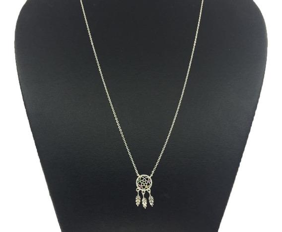 Collar Atrapasueños De Plata Ley 925 Con Piedras De Zirconia