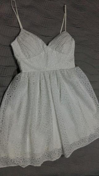 Vestido Corte Princesa Talla S Encaje Blanco Ropa Mujer