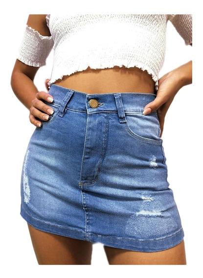 Pollera Mini Jean Mujer Tiro Alto Desflecada Moda Verano