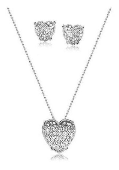 Conjunto Coração Luxo Zirconias Cristal Banhado Ródio Branco