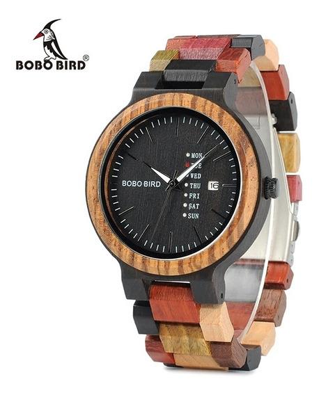 Relógio Masculino Pulso Colorido Bobo Bird Wp14-1 F. Grátis