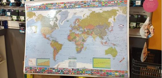 Mapa Mural Planisferio 95 X 130 Politico - Fisico Doble Faz