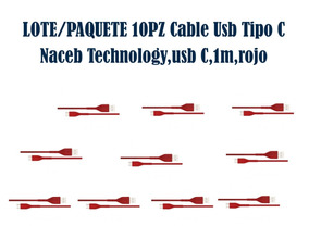 Lote/paquete 10pz Cable Usb Tipo C Naceb Na-0101r,usb C,1m,r