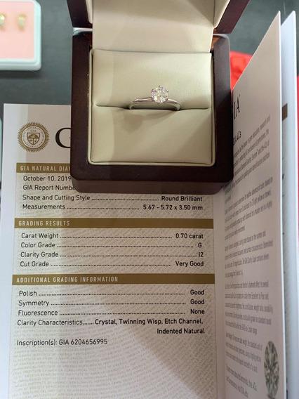 Anillo De Compromiso Diamante Certificado Gia .70ct G I2