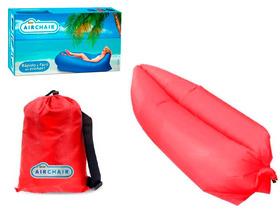 Saco De Dormir Inflável Puff Sofá - Acampamento - Vermelho