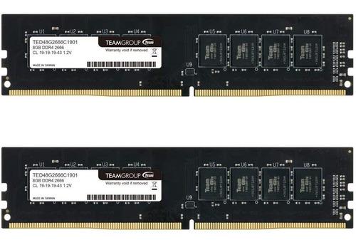Imagem 1 de 4 de Memória Ram Teamgroup Elite Ddr4 16gb Kit (2 X 8gb) 2666mhz