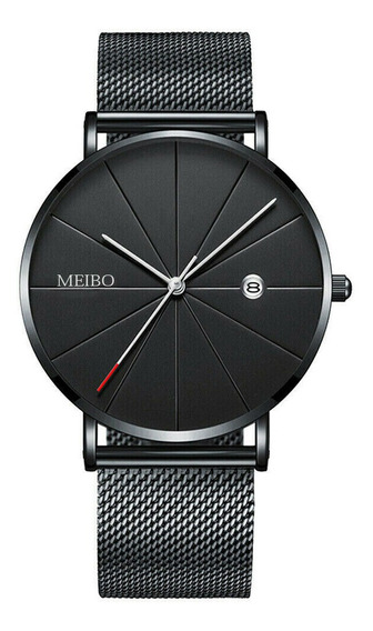 Relógio De Metal Aço Inox Ultra Fino Preto Rosé