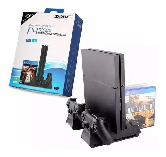 Base Vertical Ps4 Slim Pro Cooler Dock Controles Stand