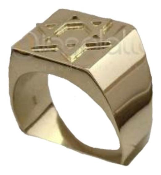Anel Estrela De Davi Masculino 10,0g Em Ouro 18k - 750