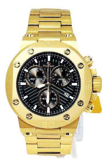 Relógio Masculino Dourado Grafite Ferrari T13j052e Garantia