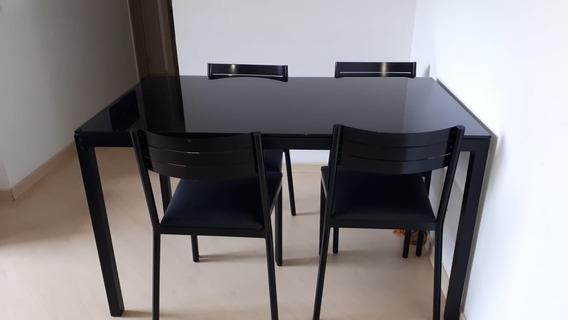 Mesa Com 4 Cadeiras Tampo De Vidro Preto