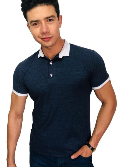 Playera Tipo Polo Slim Fit Peaceful Clothing Marino