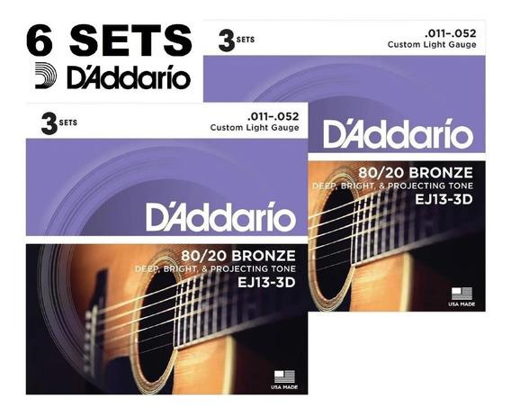 Kit Encordoamento Daddario Violão Aço Ej13-3d 011 Com 6 Sets