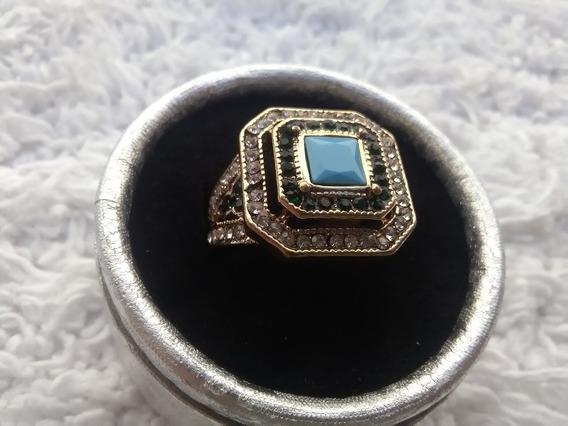 Anel Dourado Vintage Com Strass E Pedra Azul