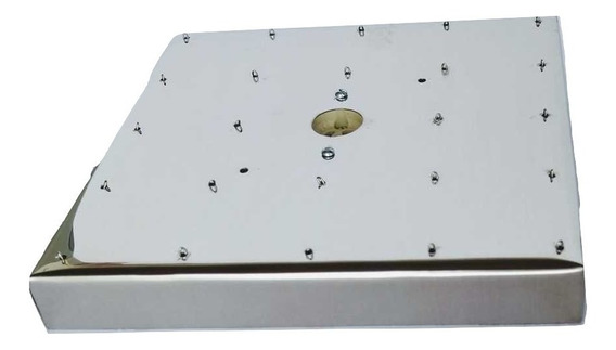 Base De Aço Inox 20 Cm Quadrada Montagem De Lustres 24 Furos