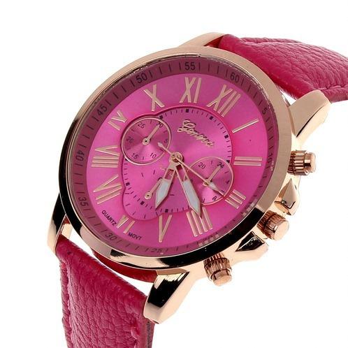 Relógio Pulseira Em Couro Feminino Geneva