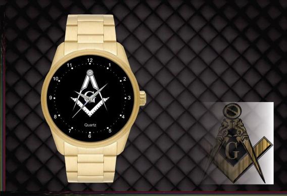 Relógio De Pulso Personalizado Maçonaria Maçon - Cod.1109