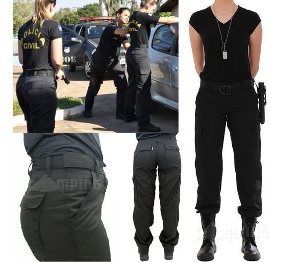 Calça Tatica Feminina Policial Militar Rip Stop Forte Preta