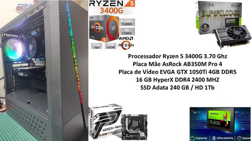 Pc Gamer Ryzen 5 3400g 16 Gb Gtx 1050ti 4gb