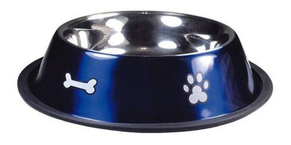 Comedouro Aço Inox Azul Metalico 850ml - Cães