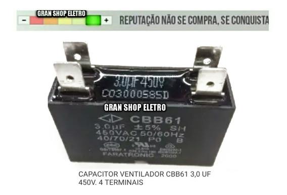 Capacitor Para Ventilador 3 Uf 450v 4 Terminais