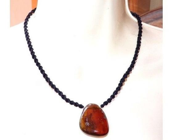 Collar Con Dije De Ámbar Auténtico / Tejido Ajustable/ Lm23