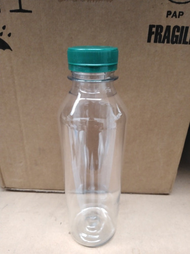Botella Plástico Pet 380 Ml Boca Ancha Con Tapa Jugos X 10u
