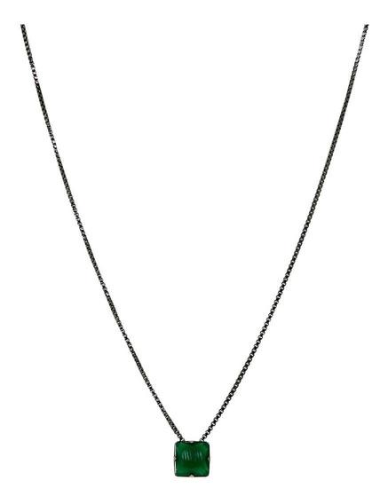 Colar Masculino Pedra Verde Esmeralda Leitoso Banhado Ródio