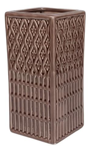 Vaso Mozaico Ceramica Marrom   10 Larg X 22 Alt X 10 Prof