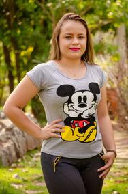 Blusa Viscolycra T-shirts Mickey Moda Evangélica(cd.129)