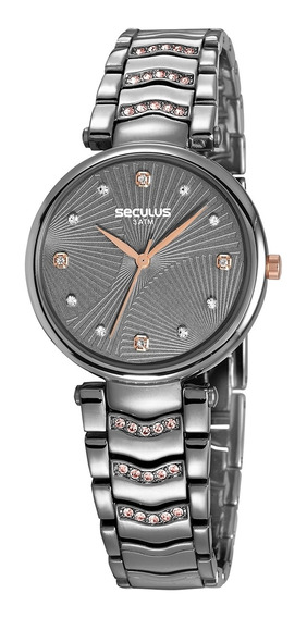 Relógio De Pulso Seculus Feminino 13031lpsvsb2 - Chumbo