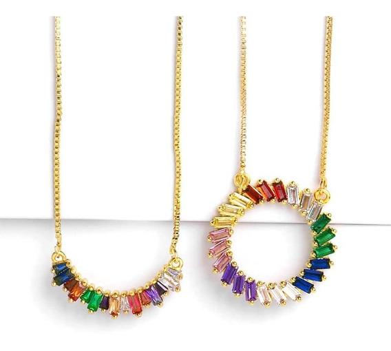 Collares Aretes Arcoiris Cobre Rainbow Colores Piedras