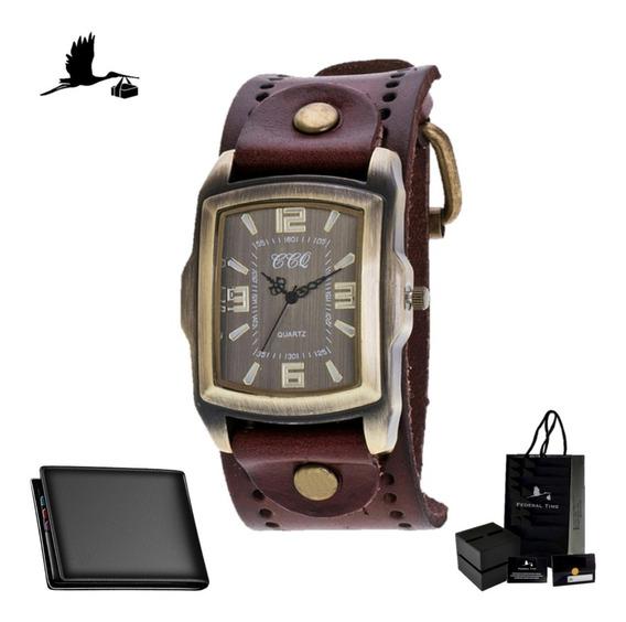 Relógio Masculino Couro Vintage Retrô Moda Casio + Carteira