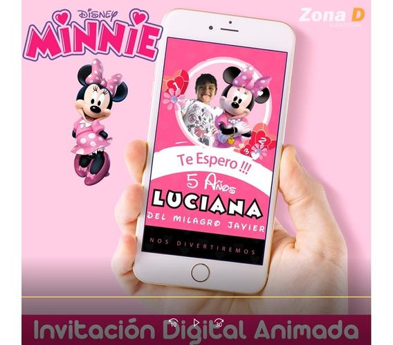 Invitación Digital Animada De Minnie Mouse