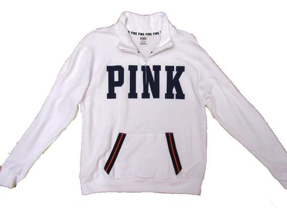 Buzo Blanco Azul Logo S Pink Victoria