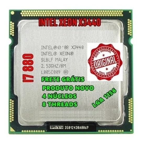 Intel X3440 2.93ghz 1156 = Processador Core I7 880