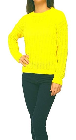 Sweater Tejido Cuello Redondo Con Tramado De Trenzas