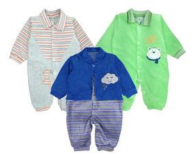 Atacado C/ 3 Macacão Bebê Plush Meninos Maternidade Inverno