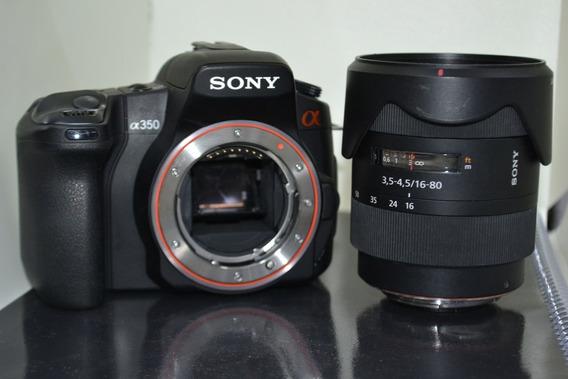 Camera Sony Alpha 350 Com Lente Sony 16-80